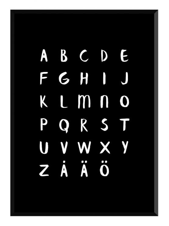 alfabetet svart poster