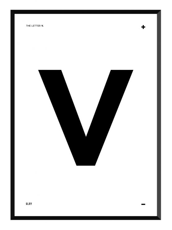 bokstavstavla V posters prints glry